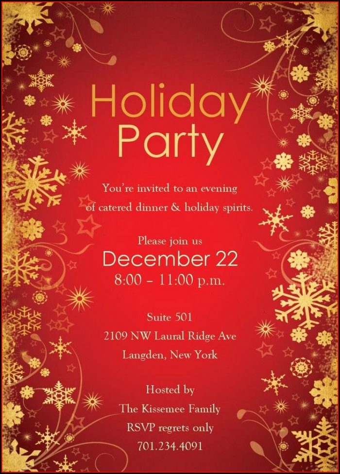 Printable Free Holiday Party Invitation Templates Word