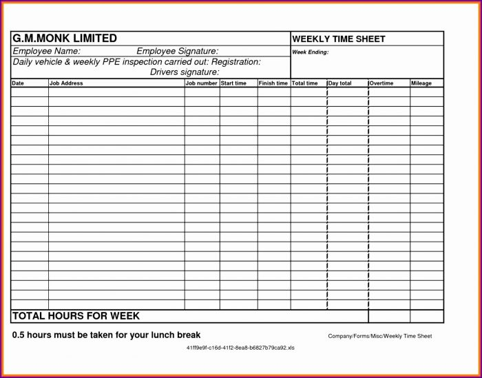 Printable Free Monthly Timesheet Template