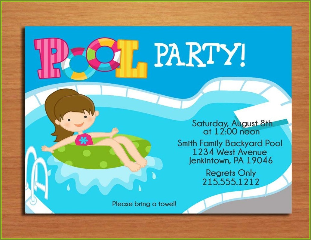 Printable Pool Party Invitation Template