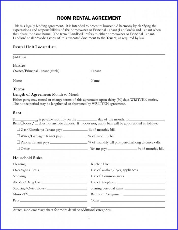 Printable Rent Printable Free Lease Agreement Template