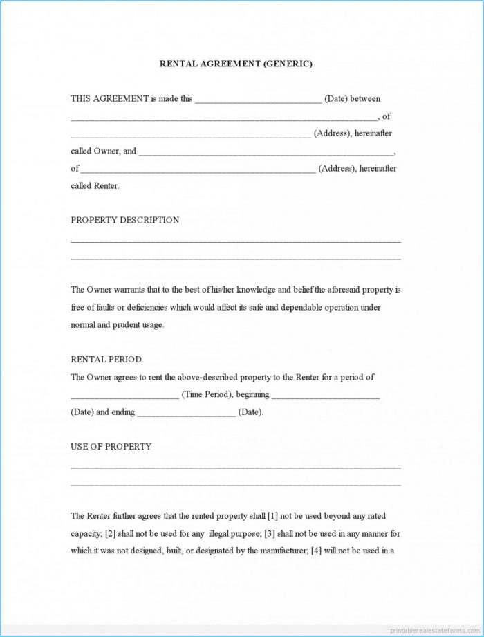 Printable Rental Agreement Template Word