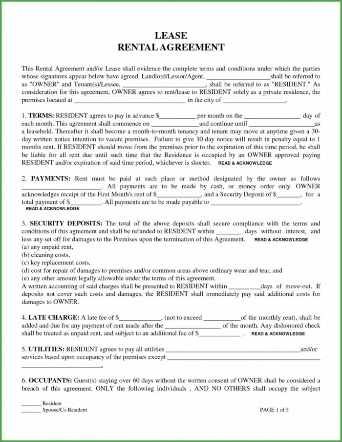 Printable Residential Lease Printable Free Rental Agreement Template