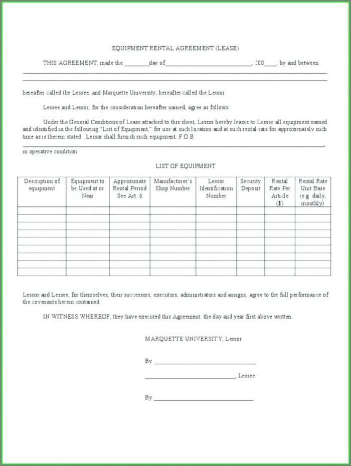 Printable Simple Equipment Rental Agreement Template Free