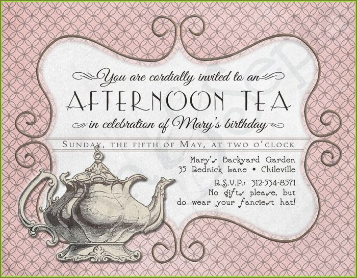 Printable Tea Party Invitation Template