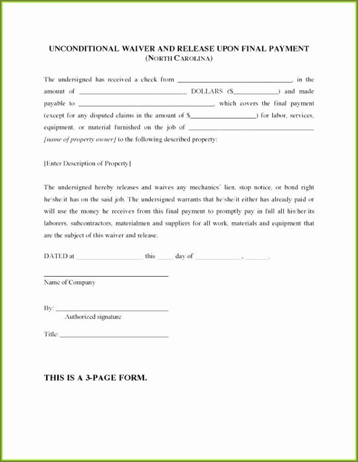 Printable Unconditional Lien Waiver Template