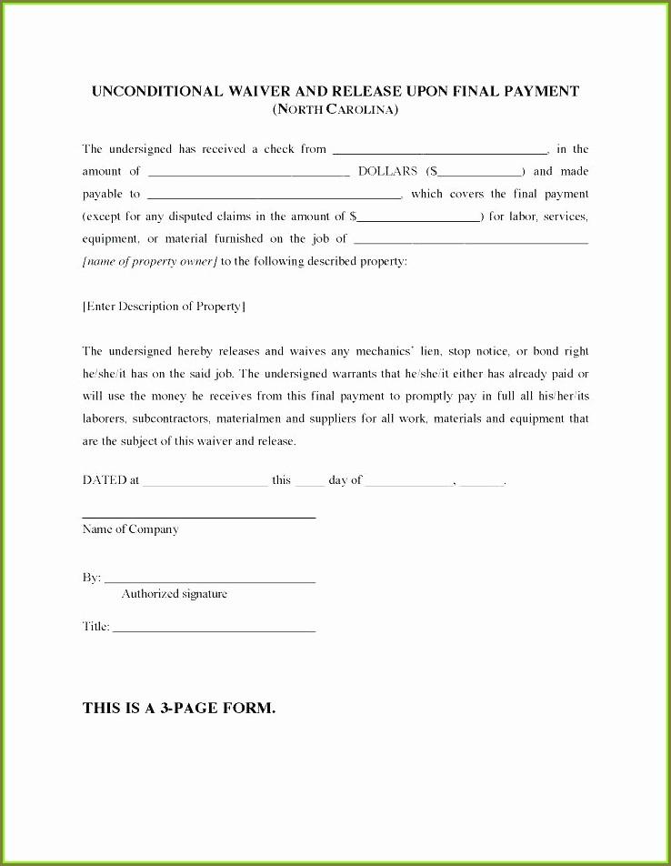 Printable Unconditional Lien Waiver Template