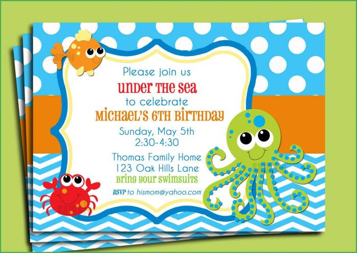 Printable Under The Sea Invitation Template Free