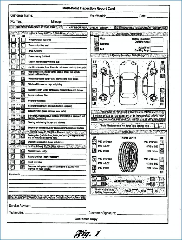 Printable Weekly Vehicle Inspection Report Template