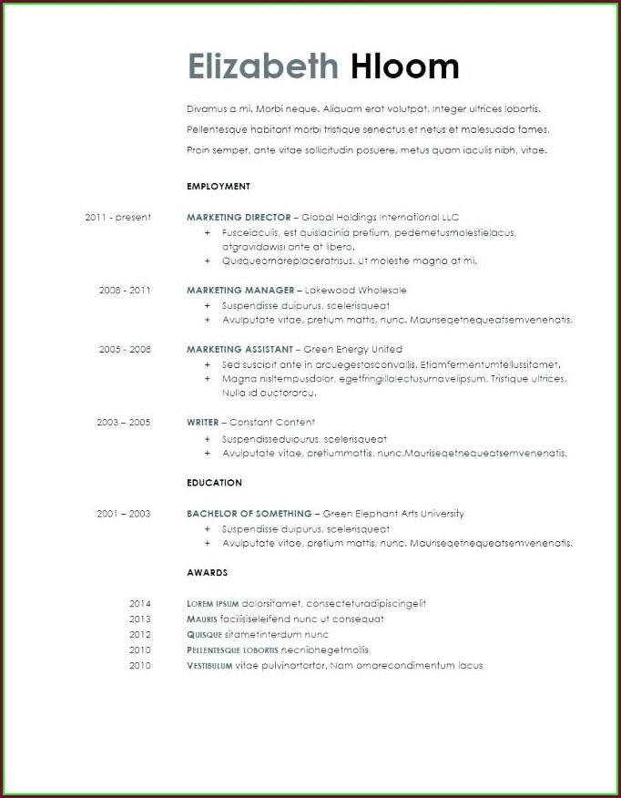 Printable Word Document Free Resume Templates