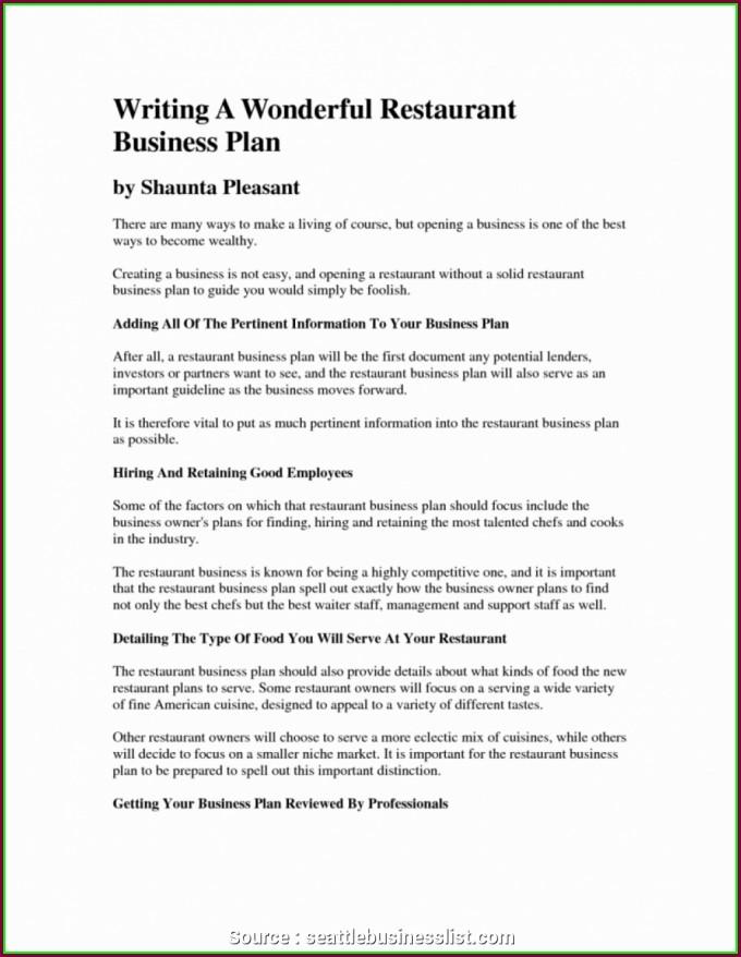 Pub Business Plan Template