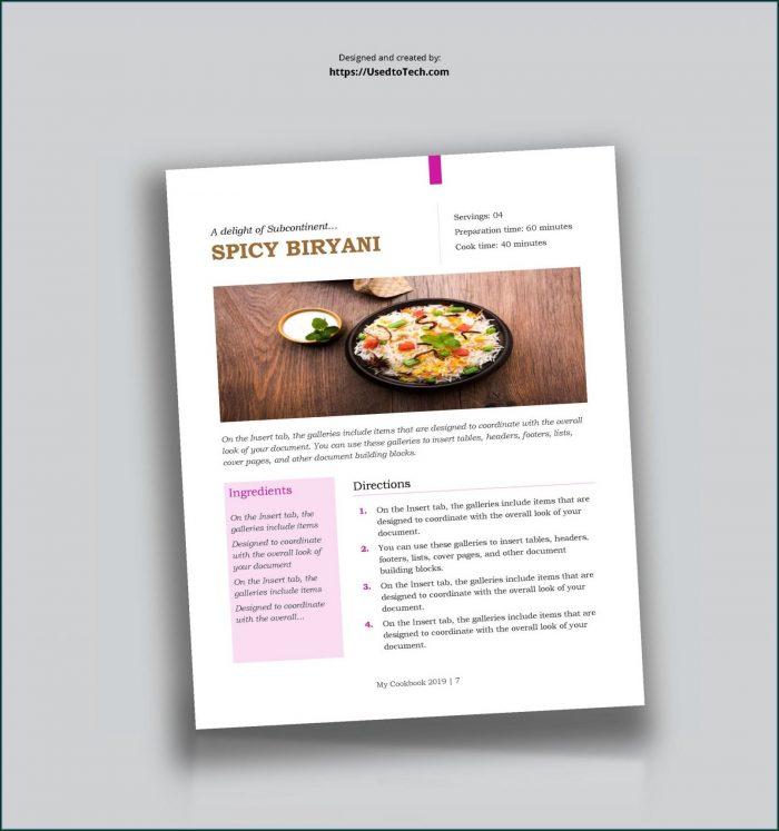 Recipe Template For Cookbook