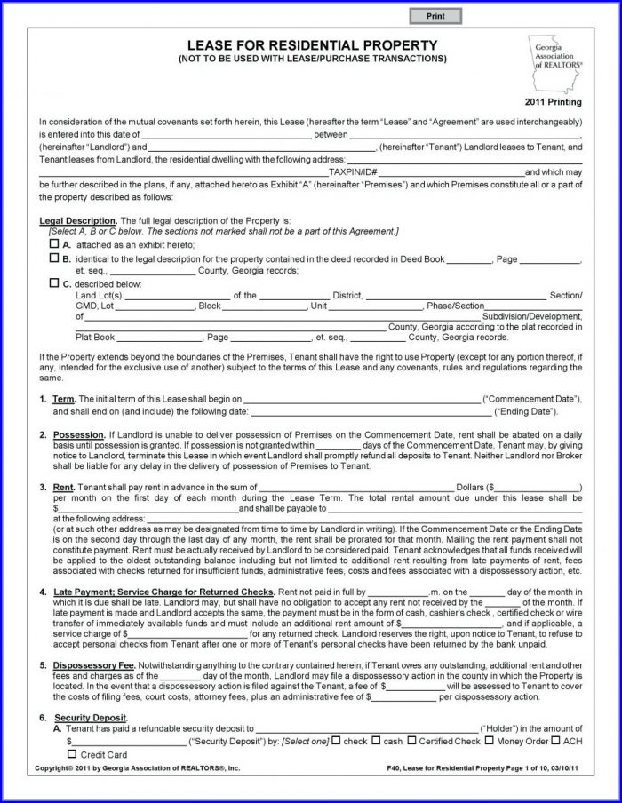 Rental Agreement Lease Template Word