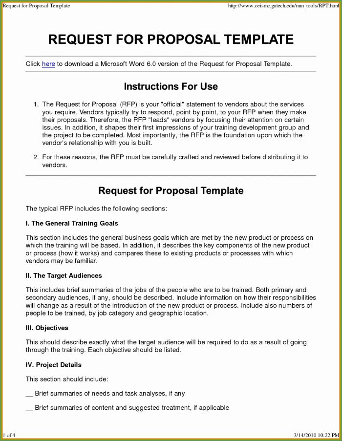 Request For Proposal Rfp Email Template