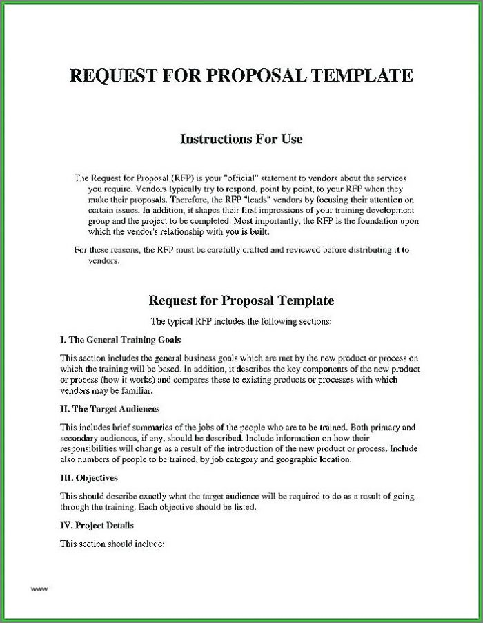 Request For Proposal Simple Rfp Template