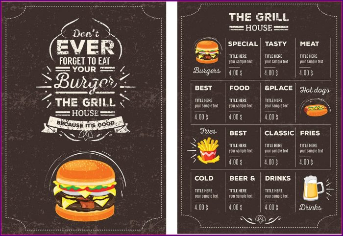 Restaurant Menu Brochure Templates