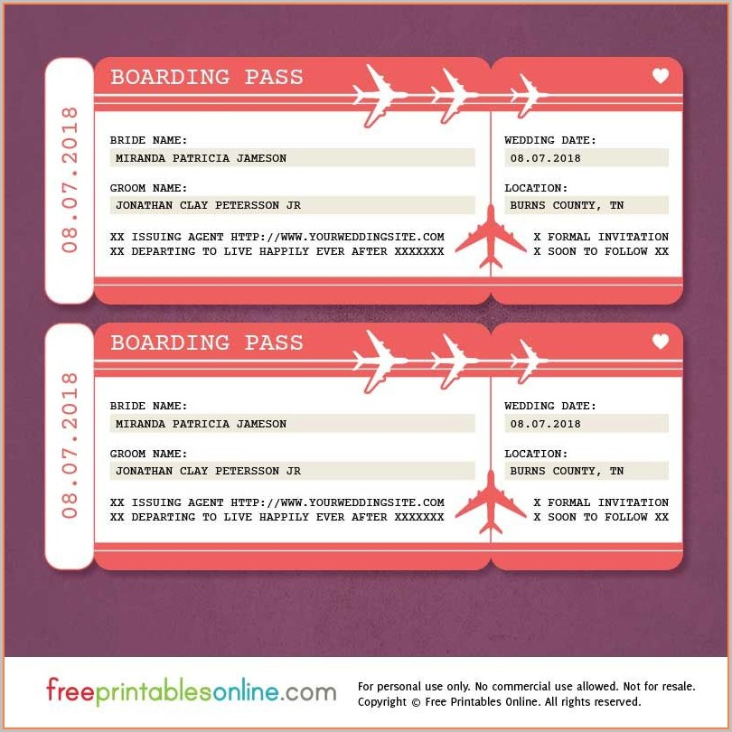 Save The Date Boarding Pass Template