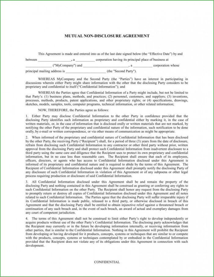 Simple Confidentiality Agreement Template Free Australia