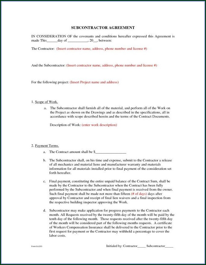 Simple Subcontractor Agreement Template