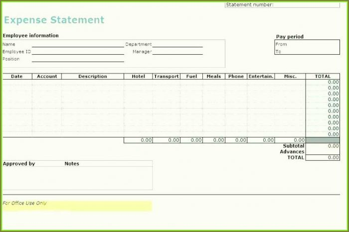 Small Business Free Expense Report Template