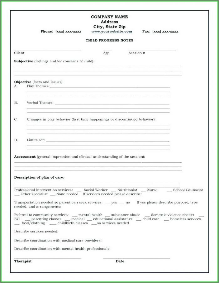 Speech Therapy Progress Notes Template