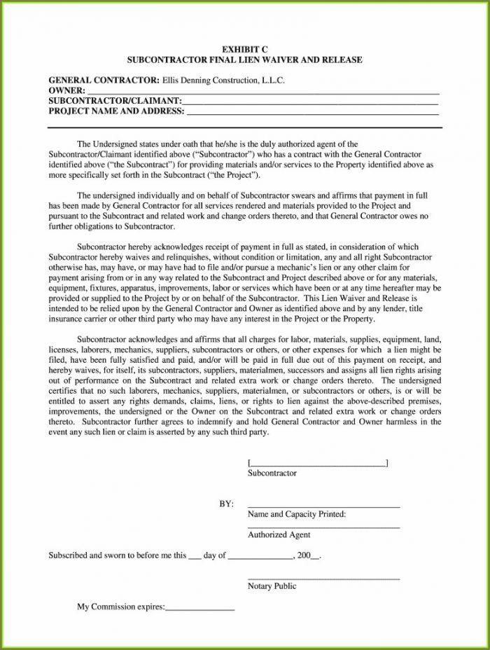 Subcontractor Unconditional Lien Waiver Template