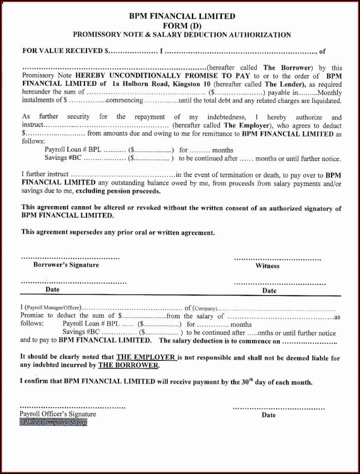 Template For Promissory Note For Personal Loan