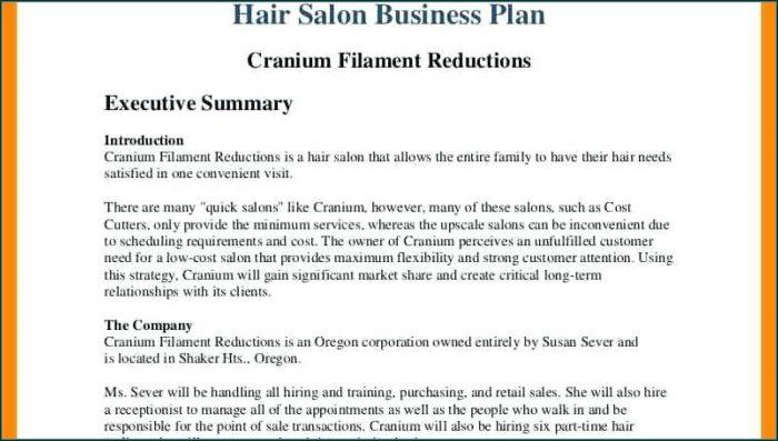 Template Hair Salon Business Plan Powerpoint