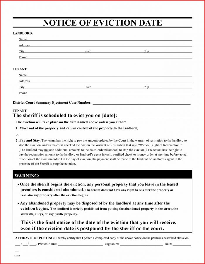 Tenant At Will Eviction Notice Template