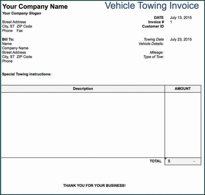 Transport Invoice Template Excel