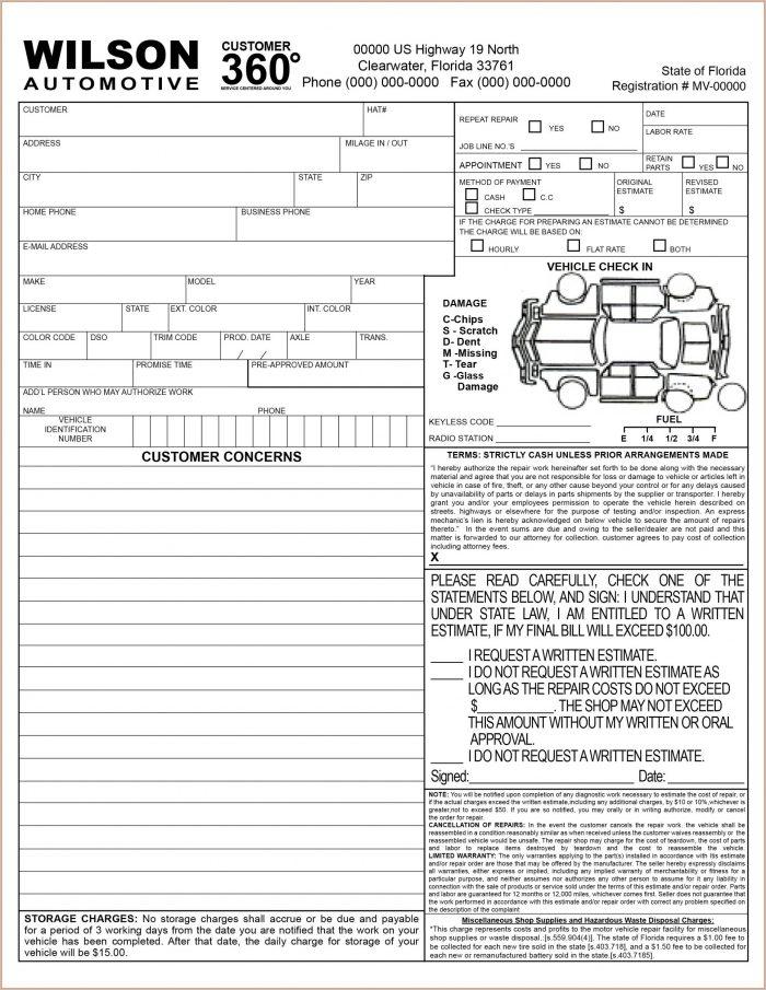 Vehicle Repair Work Order Template