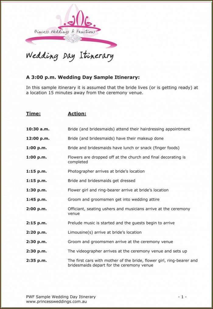 Wedding Ceremony Itinerary Template
