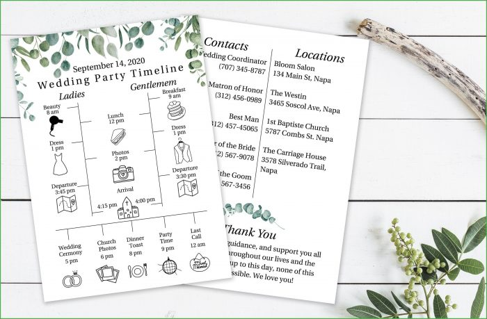 Wedding Day Timeline Wedding Agenda Template