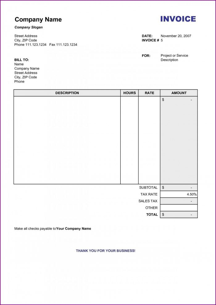Word Document Free Invoice Template Pdf