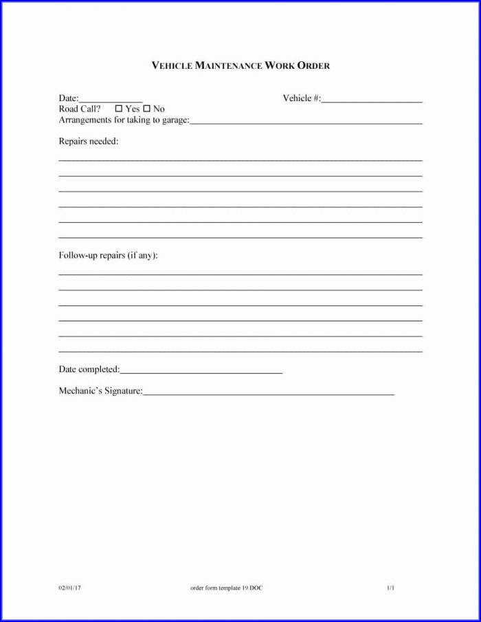 Work Order Form Template Free